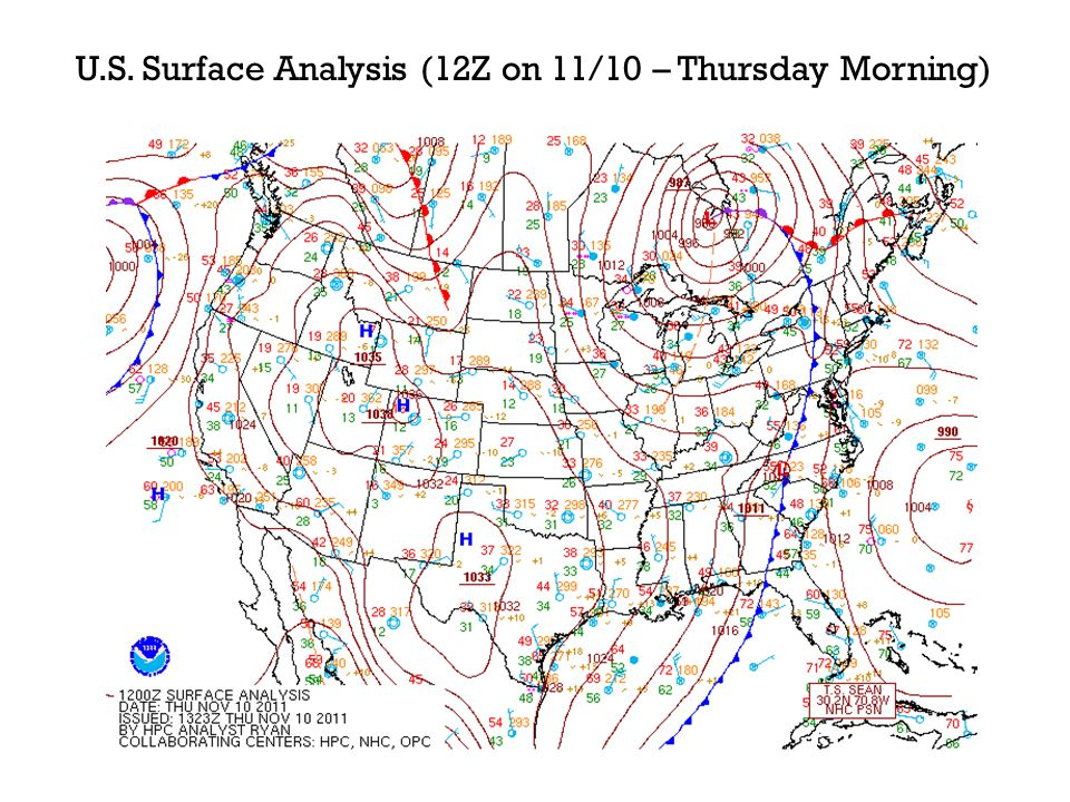 U.S. Surface Analysis (12Z on 11/10 – Thursday Morning)