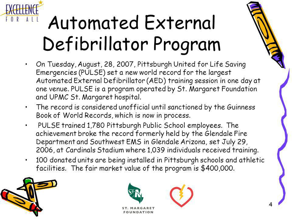 4 Automated External Defibrillator Program On Tuesday, August, 28, 2007, Pittsburgh United for Life Saving Emergencies (PULSE) set a new world record
