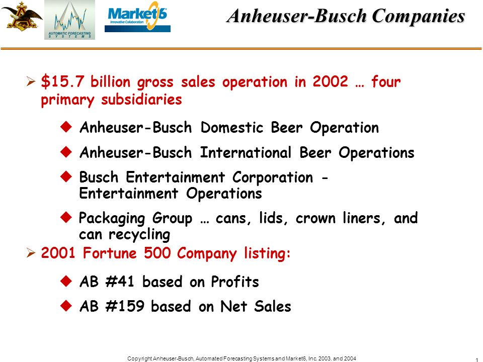 Copyright Anheuser-Busch, Automated Forecasting Systems and Market6, Inc. 2003. and 2004 1 Anheuser-Busch Companies $15.7 billion gross sales operatio