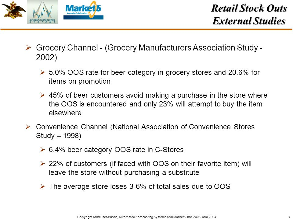Copyright Anheuser-Busch, Automated Forecasting Systems and Market6, Inc. 2003. and 2004 7 Grocery Channel - (Grocery Manufacturers Association Study
