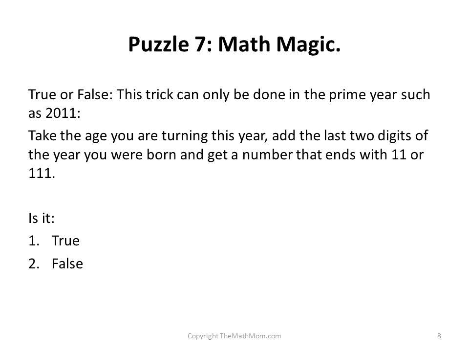 Puzzle 7: Math Magic.