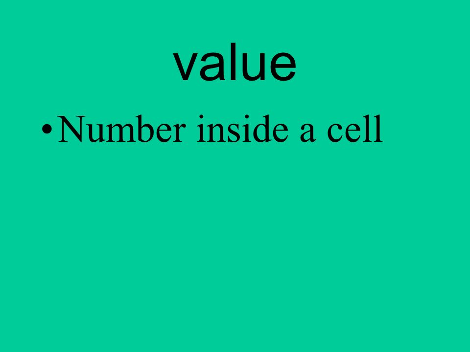 value Number inside a cell