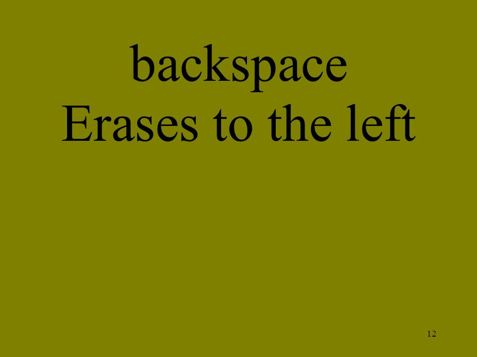 12 backspace Erases to the left
