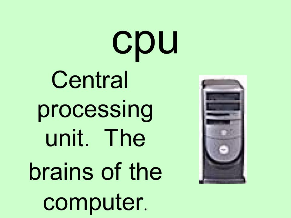 cpu Central processing unit. The brains of the computer.