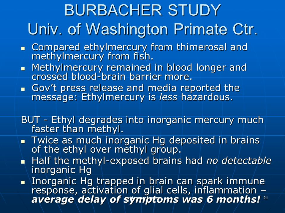 Evidence of Harm 21 BURBACHER STUDY Univ. of Washington Primate Ctr.
