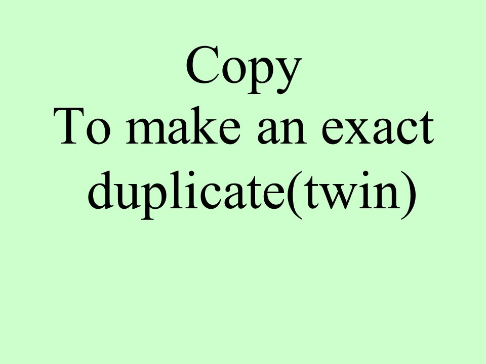 Copy To make an exact duplicate(twin)