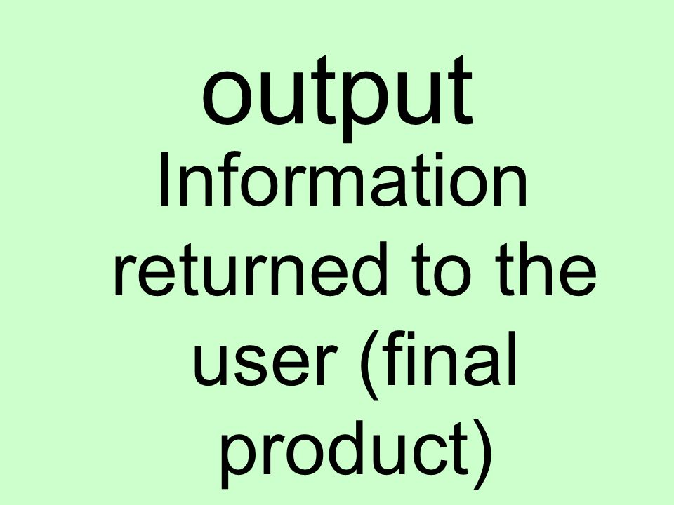 output Information returned to the user (final product)