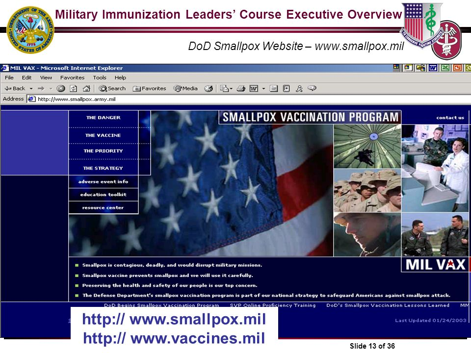 Military Immunization Leaders Course Executive Overview 1-1 Slide 13 of 36 DoD Smallpox Website – www.smallpox.mil http:// www.smallpox.mil http:// ww