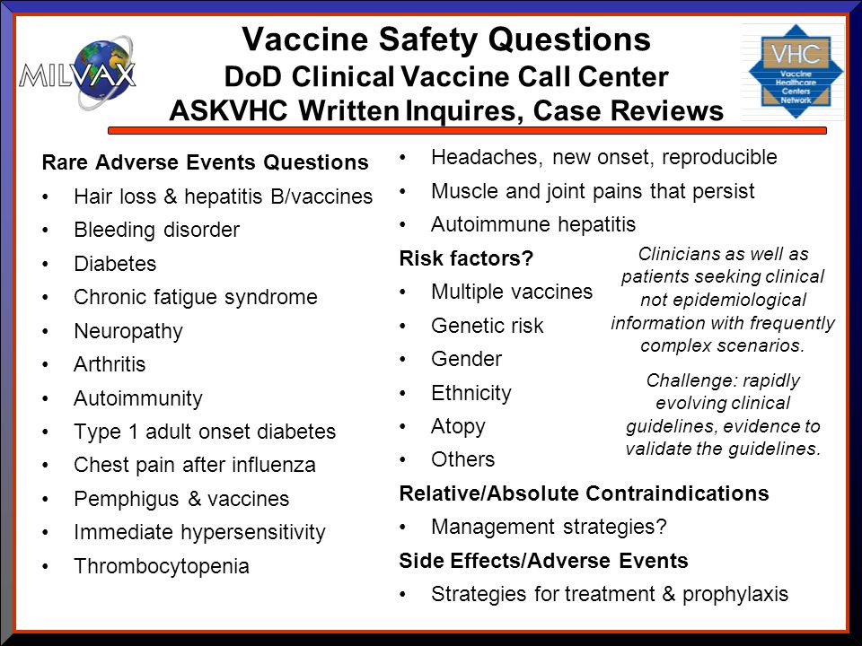 Vaccine Safety Questions DoD Clinical Vaccine Call Center ASKVHC Written Inquires, Case Reviews Rare Adverse Events Questions Hair loss & hepatitis B/