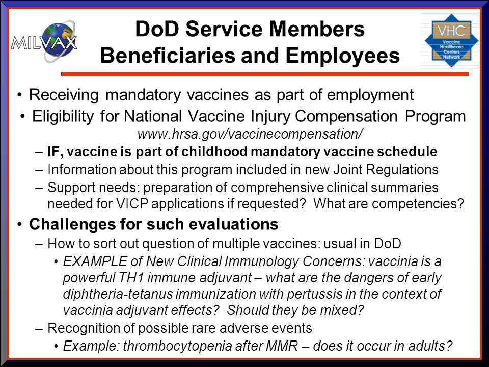 DoD Service Members Beneficiaries and Employees Receiving mandatory vaccines as part of employment Eligibility for National Vaccine Injury Compensatio