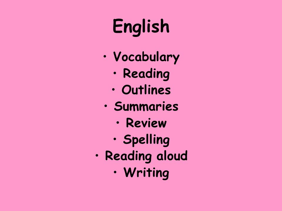 English Vocabulary Reading Outlines Summaries Review Spelling Reading aloud Writing