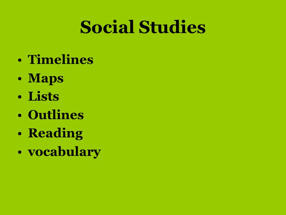 Social Studies Timelines Maps Lists Outlines Reading vocabulary