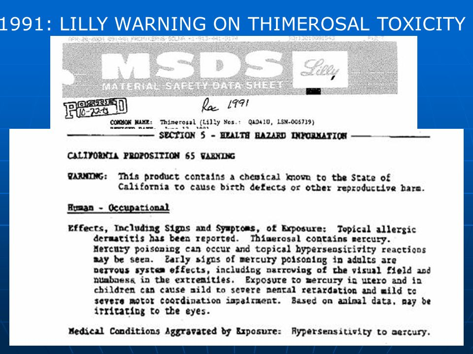 20 1991: LILLY WARNING ON THIMEROSAL TOXICITY