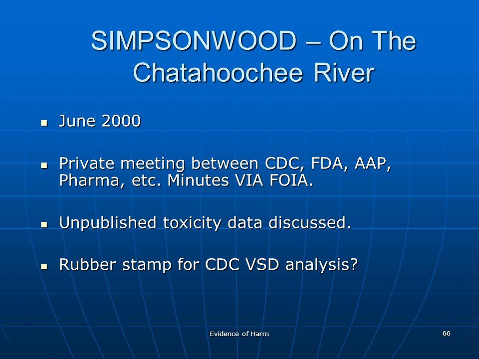 Evidence of Harm 66 SIMPSONWOOD – On The Chatahoochee River June 2000 June 2000 Private meeting between CDC, FDA, AAP, Pharma, etc.