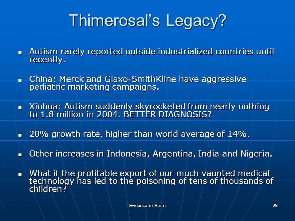 Evidence of Harm 89 Thimerosals Legacy.