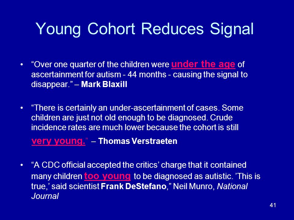 41 Young Cohort Reduces Signal Over one quarter of the children were under the age of ascertainment for autism - 44 months - causing the signal to disappear.