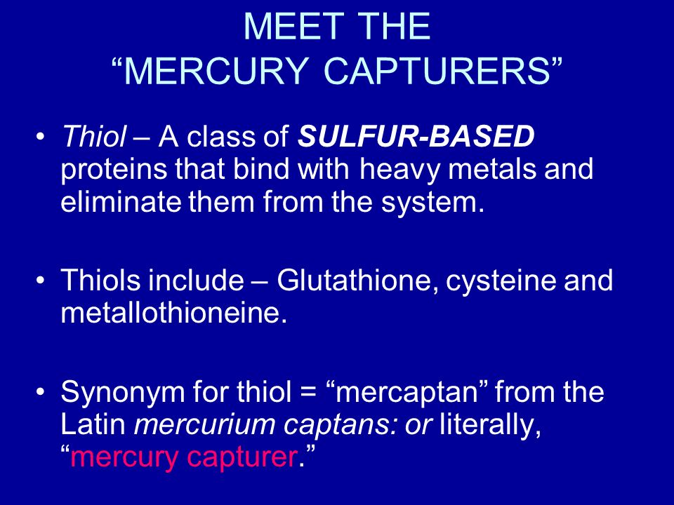 MEET THE MERCURY CAPTURERS Thiol – A class of SULFUR-BASED proteins that bind with heavy metals and eliminate them from the system.