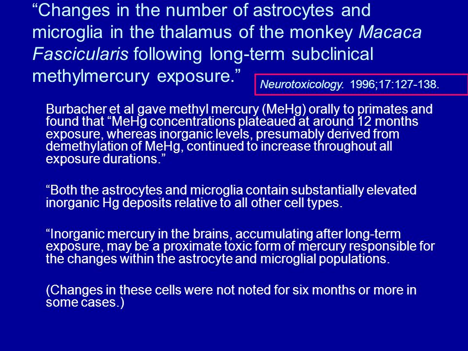 Changes in the number of astrocytes and microglia in the thalamus of the monkey Macaca Fascicularis following long-term subclinical methylmercury exposure.