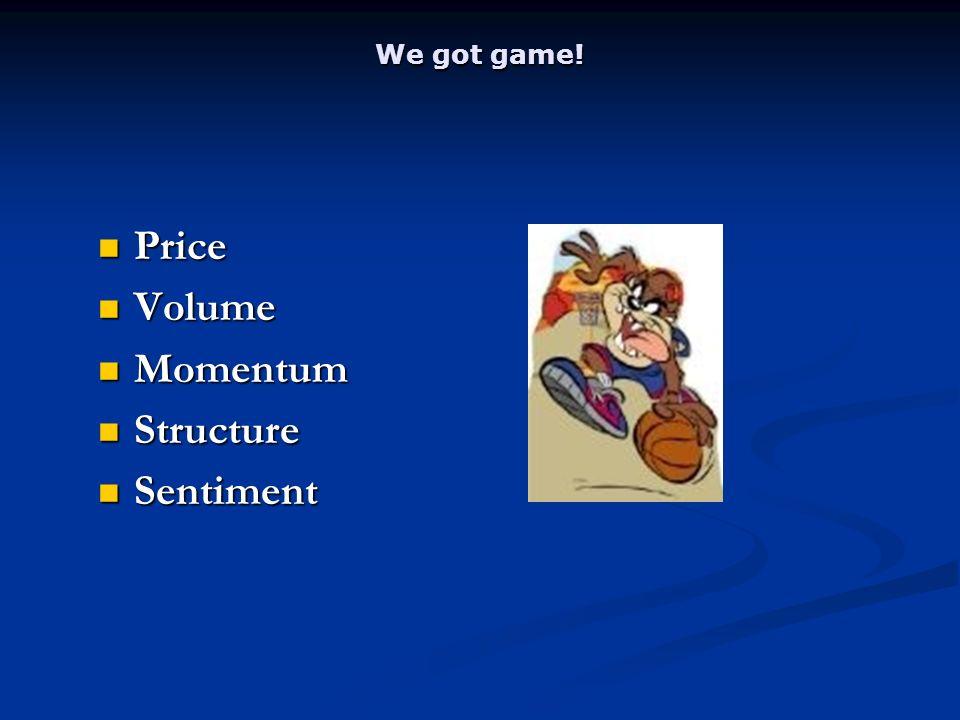 We got game! Price Price Volume Volume Momentum Momentum Structure Structure Sentiment Sentiment