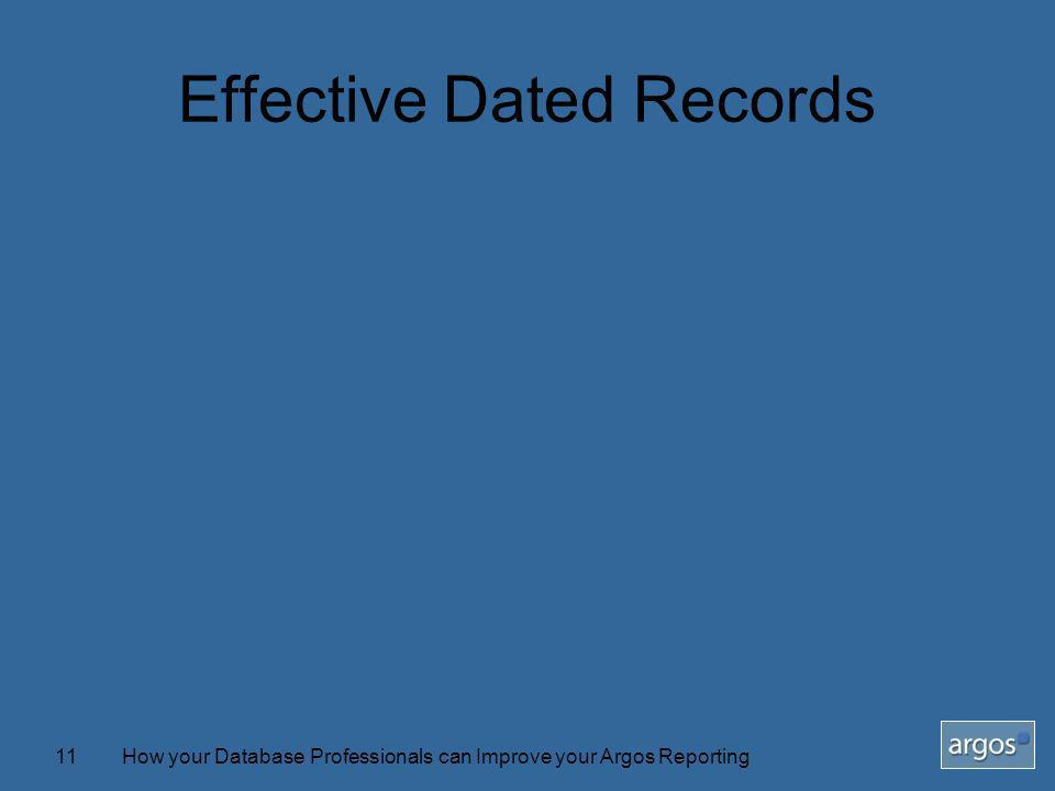How your Database Professionals can Improve your Argos Reporting11 Effective Dated Records