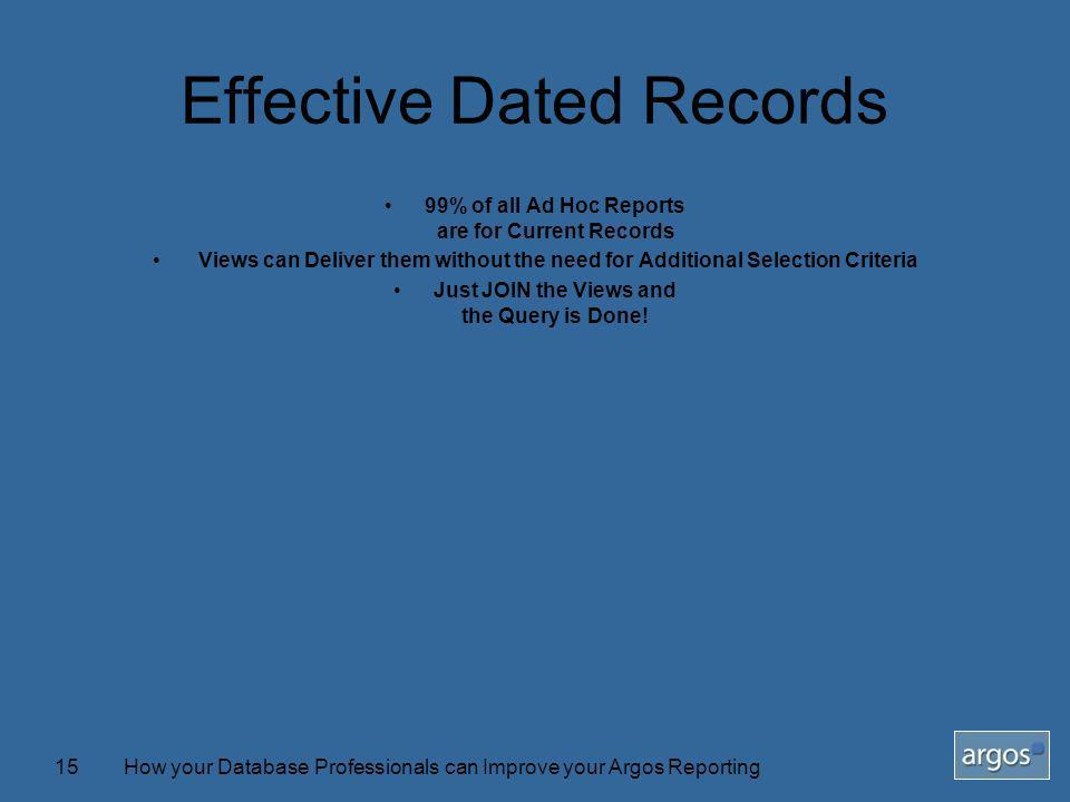 How your Database Professionals can Improve your Argos Reporting15 Effective Dated Records 99% of all Ad Hoc Reports are for Current Records Views can Deliver them without the need for Additional Selection Criteria Just JOIN the Views and the Query is Done!