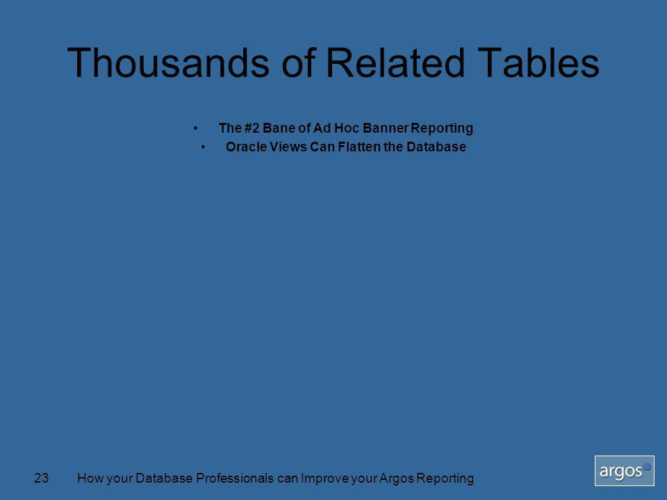 How your Database Professionals can Improve your Argos Reporting23 Thousands of Related Tables The #2 Bane of Ad Hoc Banner Reporting Oracle Views Can Flatten the Database