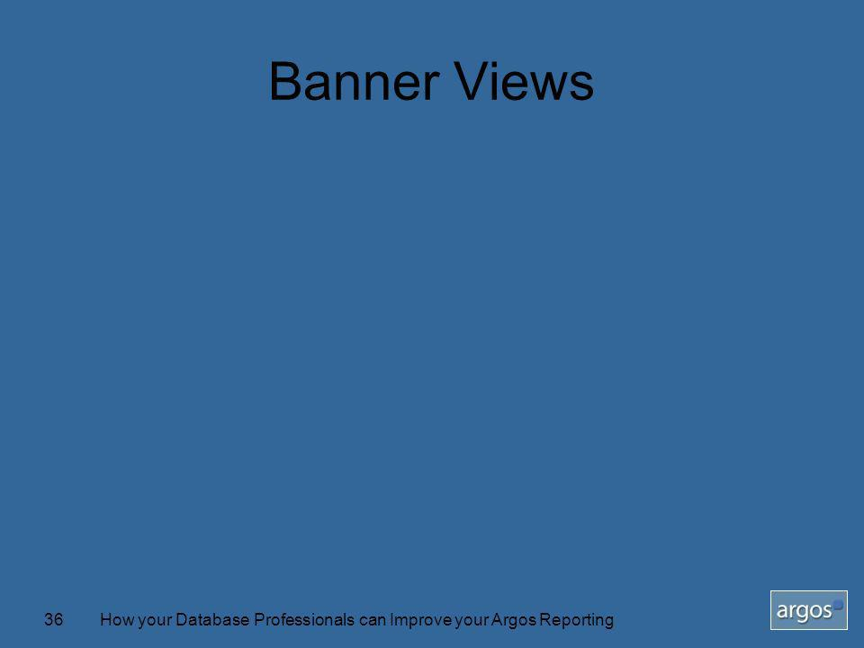 How your Database Professionals can Improve your Argos Reporting36 Banner Views