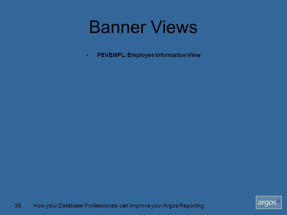 How your Database Professionals can Improve your Argos Reporting38 Banner Views PEVEMPL: Employee Information View