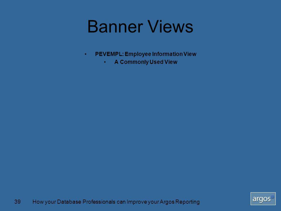 How your Database Professionals can Improve your Argos Reporting39 Banner Views PEVEMPL: Employee Information View A Commonly Used View