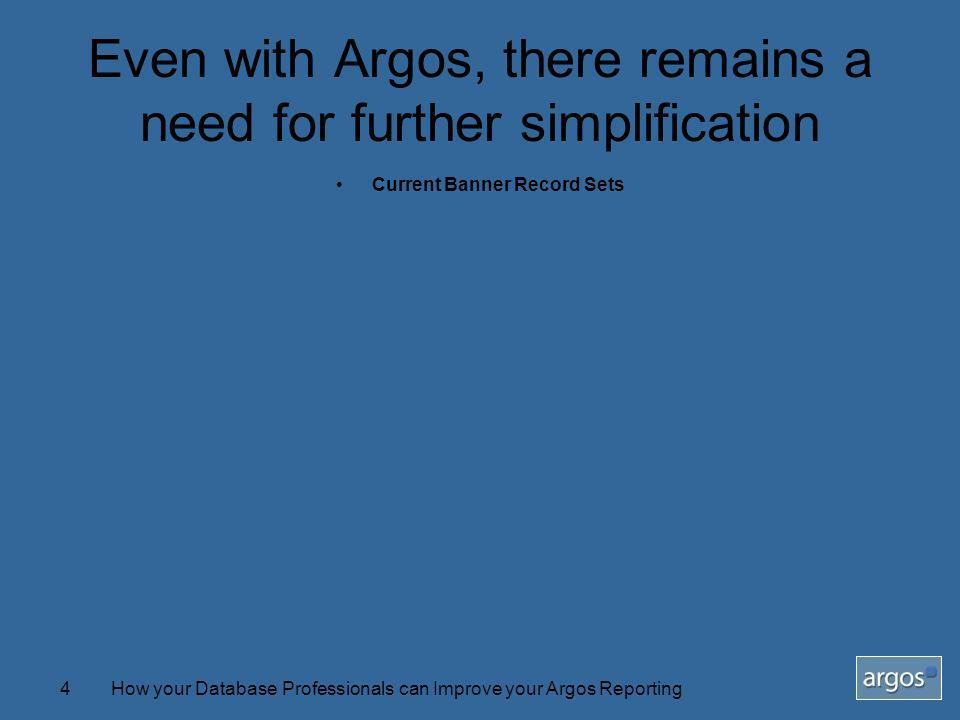 How your Database Professionals can Improve your Argos Reporting4 Even with Argos, there remains a need for further simplification Current Banner Record Sets