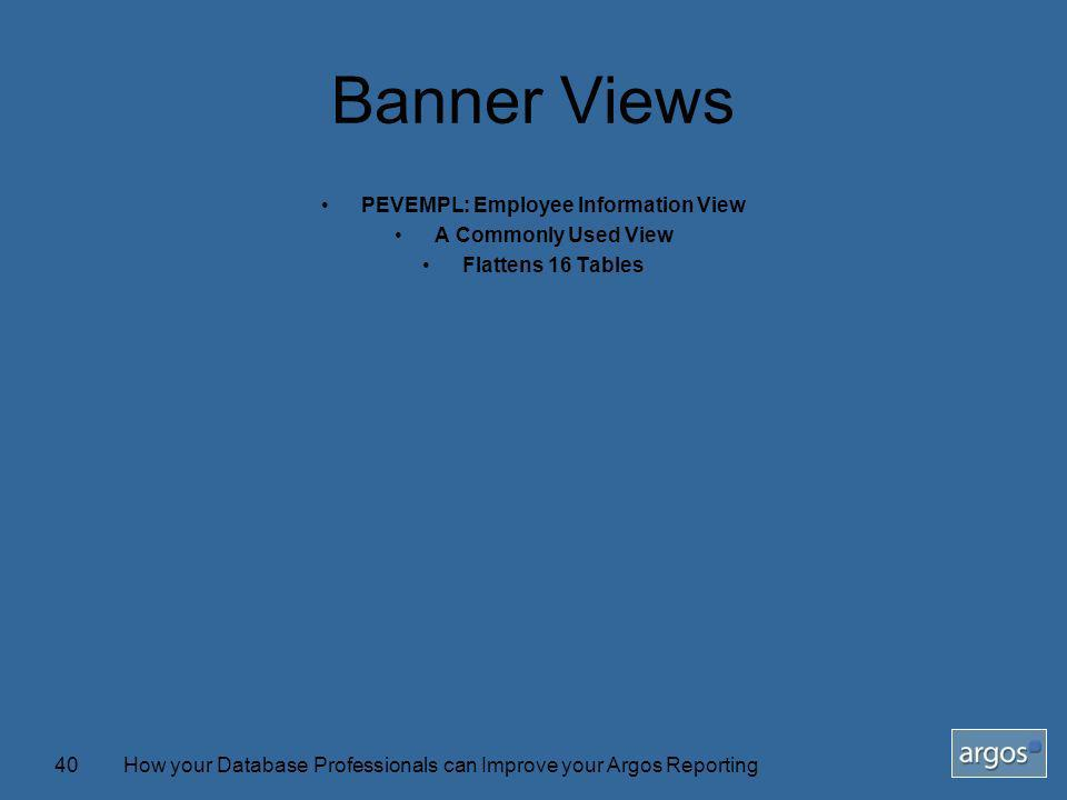 How your Database Professionals can Improve your Argos Reporting40 Banner Views PEVEMPL: Employee Information View A Commonly Used View Flattens 16 Tables