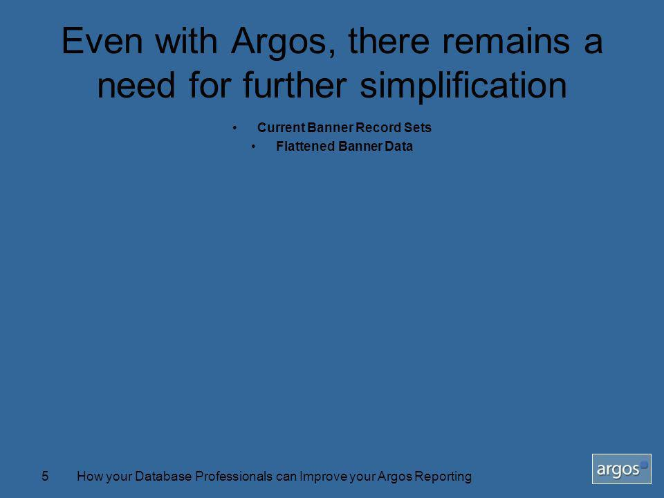 How your Database Professionals can Improve your Argos Reporting5 Even with Argos, there remains a need for further simplification Current Banner Record Sets Flattened Banner Data