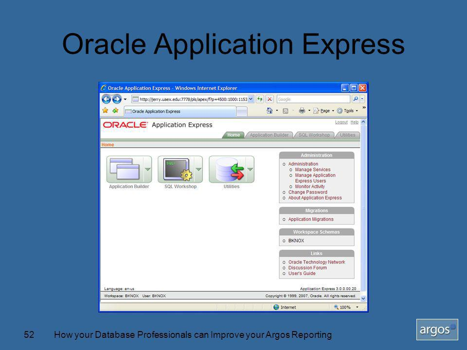 How your Database Professionals can Improve your Argos Reporting52 Oracle Application Express