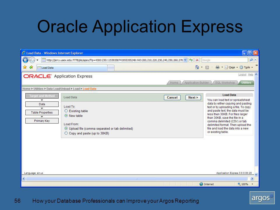How your Database Professionals can Improve your Argos Reporting56 Oracle Application Express