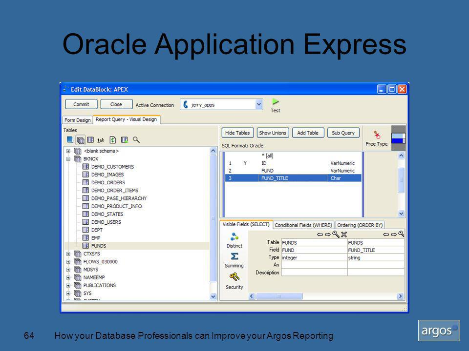 How your Database Professionals can Improve your Argos Reporting64 Oracle Application Express