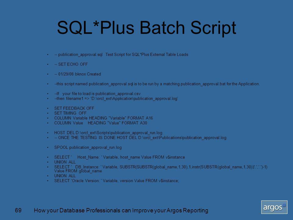 How your Database Professionals can Improve your Argos Reporting69 SQL*Plus Batch Script -- publication_approval.sql Test Script for SQL*Plus External