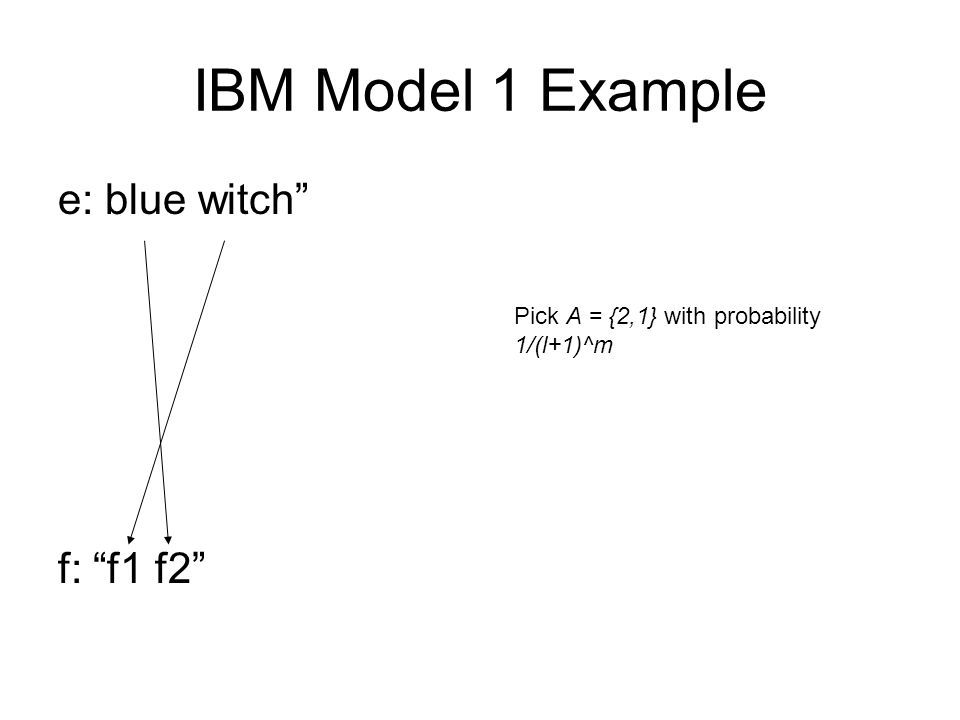 IBM Model 1 Example e: blue witch f: f1 f2 Pick A = {2,1} with probability 1/(l+1)^m