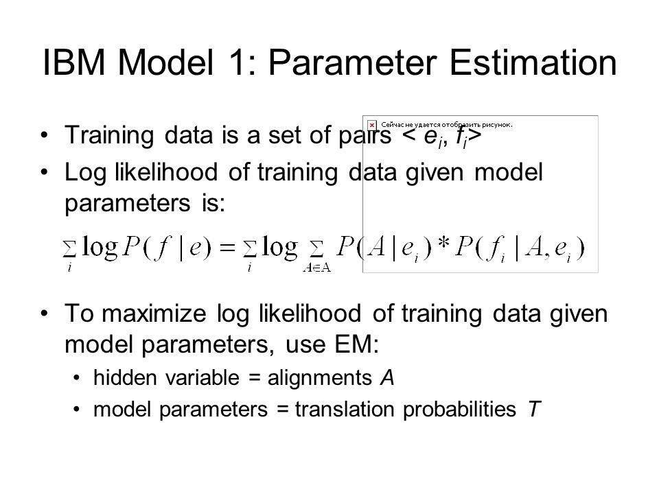 IBM Model 1: Parameter Estimation Training data is a set of pairs Log likelihood of training data given model parameters is: To maximize log likelihoo