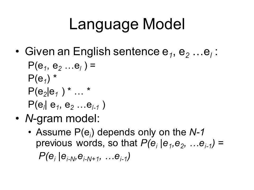 Language Model Given an English sentence e 1, e 2 …e l : P(e 1, e 2 …e l ) = P(e 1 ) * P(e 2 |e 1 ) * … * P(e l | e 1, e 2 …e l-1 ) N-gram model: Assu