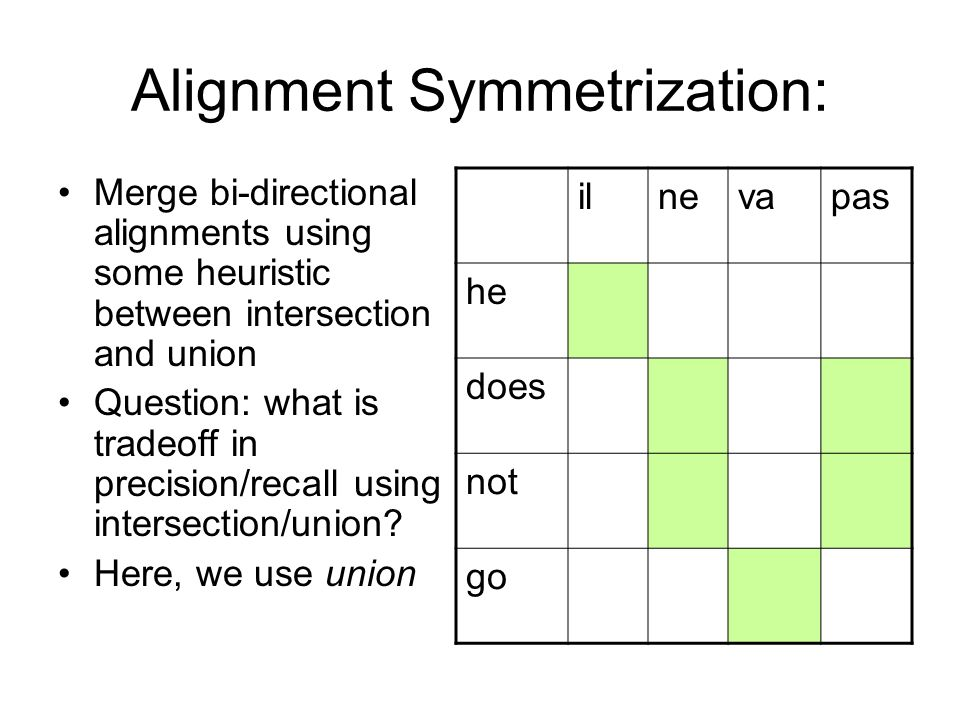 Alignment Symmetrization: Merge bi-directional alignments using some heuristic between intersection and union Question: what is tradeoff in precision/