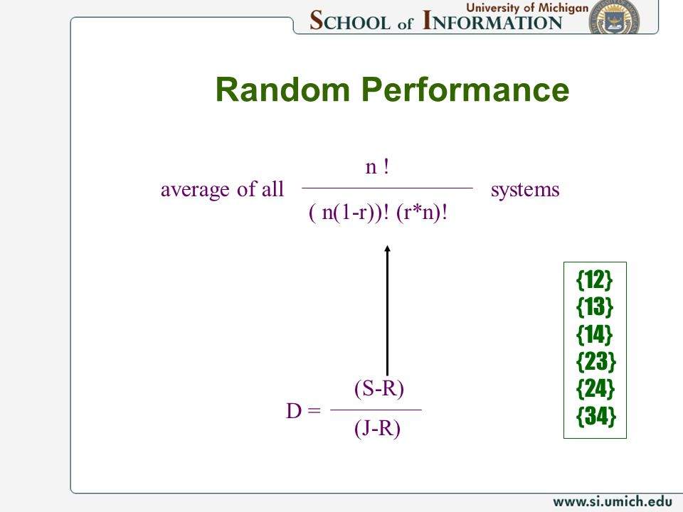 Random Performance D = (S-R) (J-R) n ! ( n(1-r))! (r*n)! systemsaverage of all {12} {13} {14} {23} {24} {34}