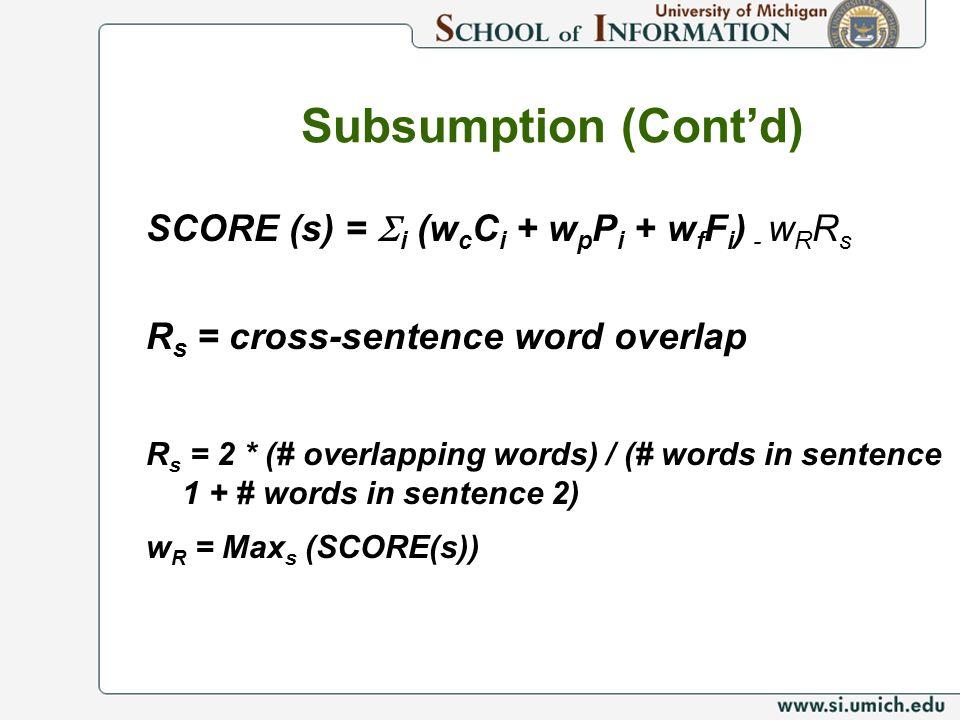Subsumption (Contd) SCORE (s) = i (w c C i + w p P i + w f F i ) - w R R s R s = cross-sentence word overlap R s = 2 * (# overlapping words) / (# words in sentence 1 + # words in sentence 2) w R = Max s (SCORE(s))