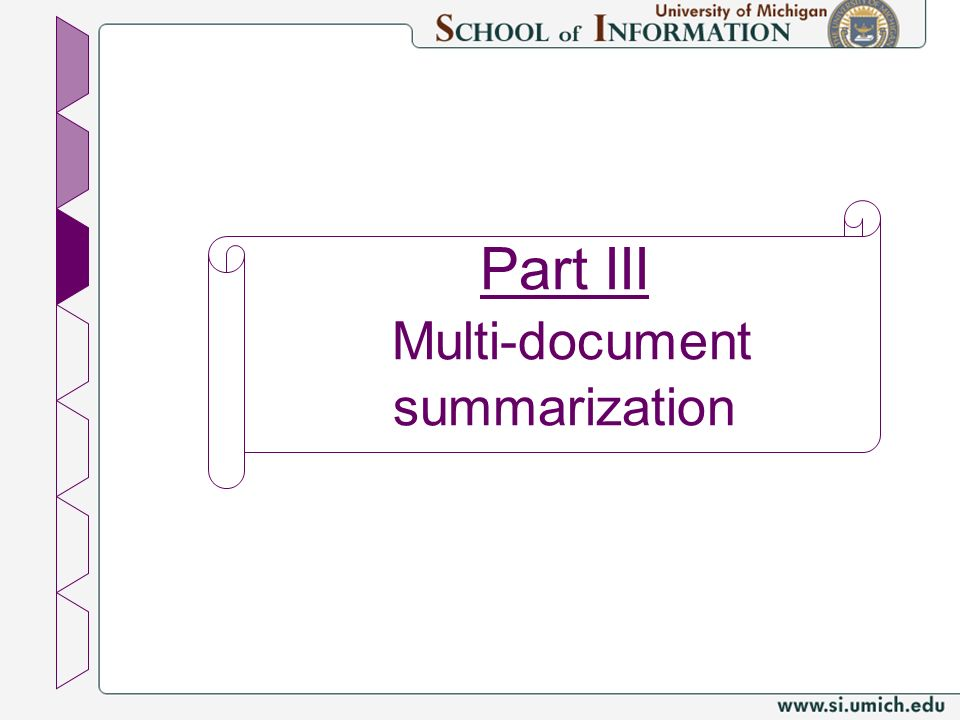 Part III Multi-document summarization