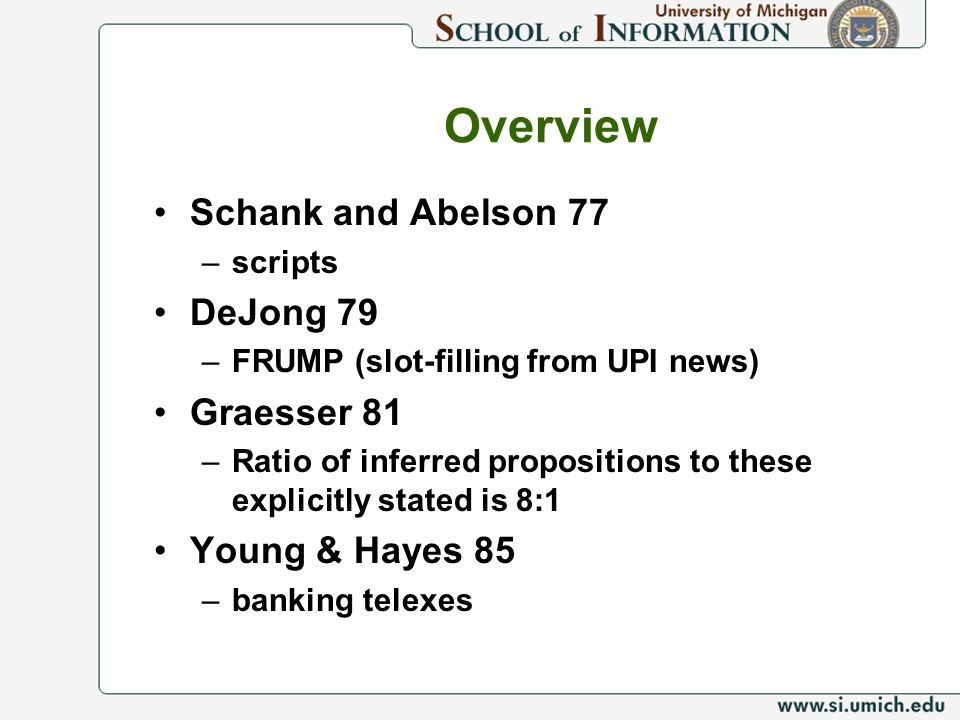 Overview Schank and Abelson 77 –scripts DeJong 79 –FRUMP (slot-filling from UPI news) Graesser 81 –Ratio of inferred propositions to these explicitly