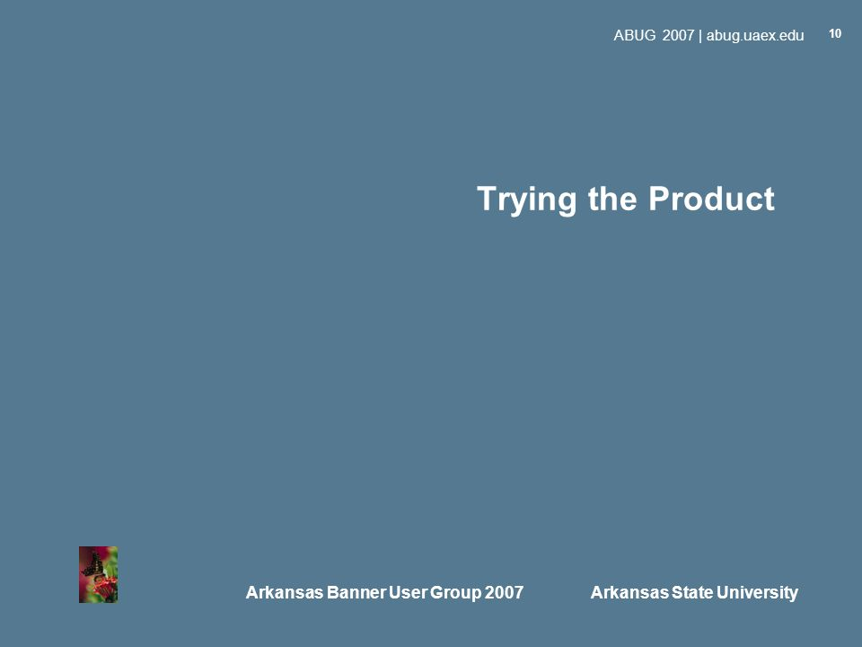 Arkansas Banner User Group 2007 Arkansas State University ABUG 2007 | abug.uaex.edu 10 Trying the Product