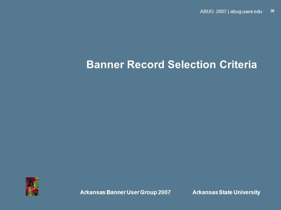 Arkansas Banner User Group 2007 Arkansas State University ABUG 2007 | abug.uaex.edu 30 Banner Record Selection Criteria