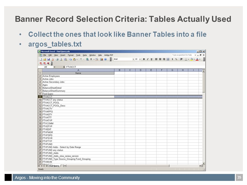 35 Argos - Moving into the Community Banner Record Selection Criteria: Tables Actually Used Collect the ones that look like Banner Tables into a file argos_tables.txt