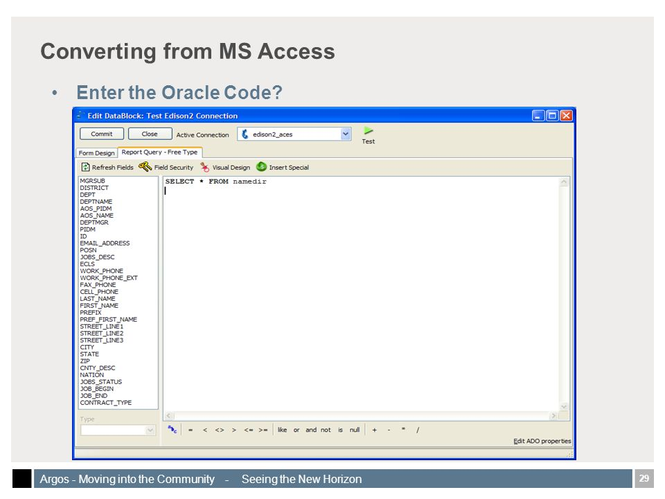 29 Argos - Moving into the Community - Seeing the New Horizon Converting from MS Access Enter the Oracle Code
