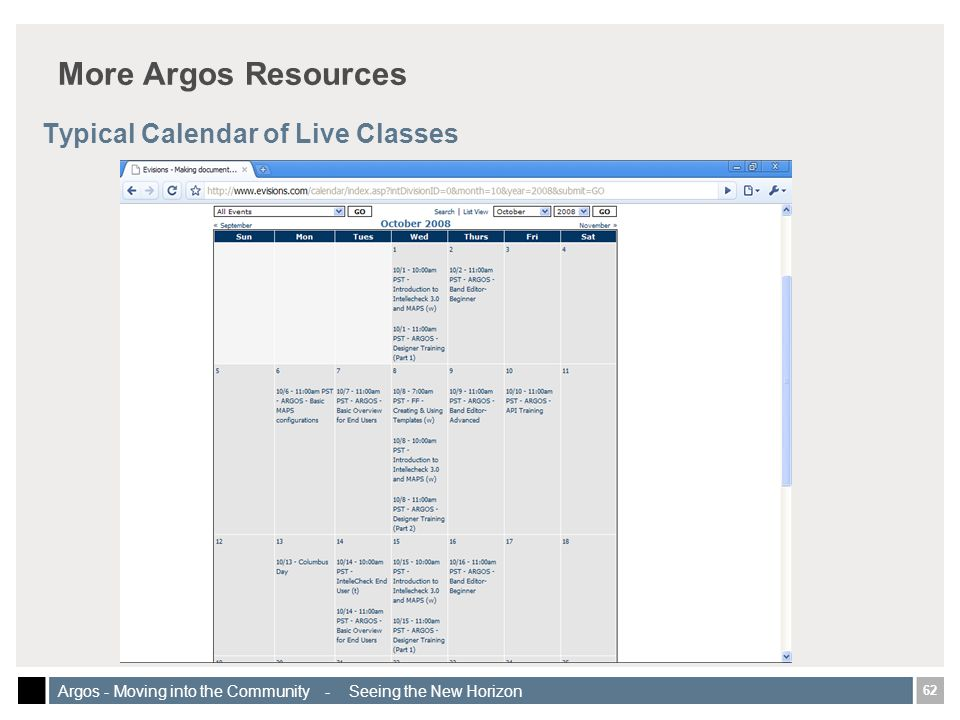62 Argos - Moving into the Community - Seeing the New Horizon More Argos Resources Typical Calendar of Live Classes