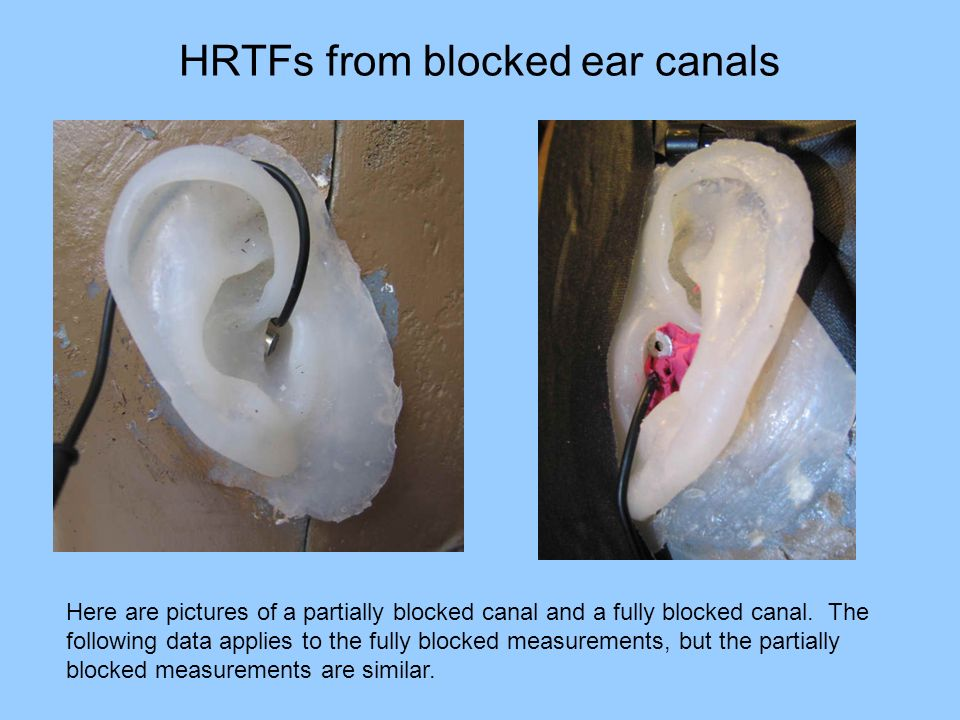 HRTFs from blocked ear canals Here are pictures of a partially blocked canal and a fully blocked canal. The following data applies to the fully blocke